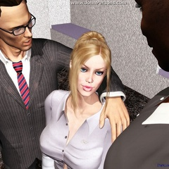 3d blonde nymph with big boobs tasting warm black cum - Picture 4