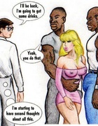 Naughty blonde cartoon wife gets butt fucked by black guys in front of