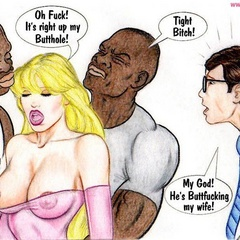 Naughty blonde cartoon wife gets butt fucked by black - Picture 2