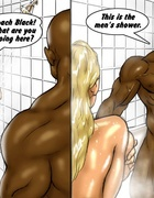 Big tits blonde meets black guy in shower and kneels to sucks his big