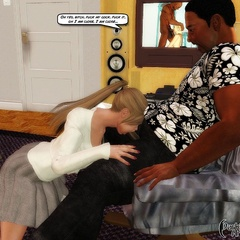 Innocent looking 3d blonde sucking hard black meat - Picture 3