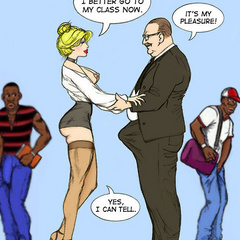 Blonde toon teacher in sexy stockings need her pussy - Picture 3