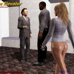 White 3d toon chick stucked in the elevator with two - Picture 1