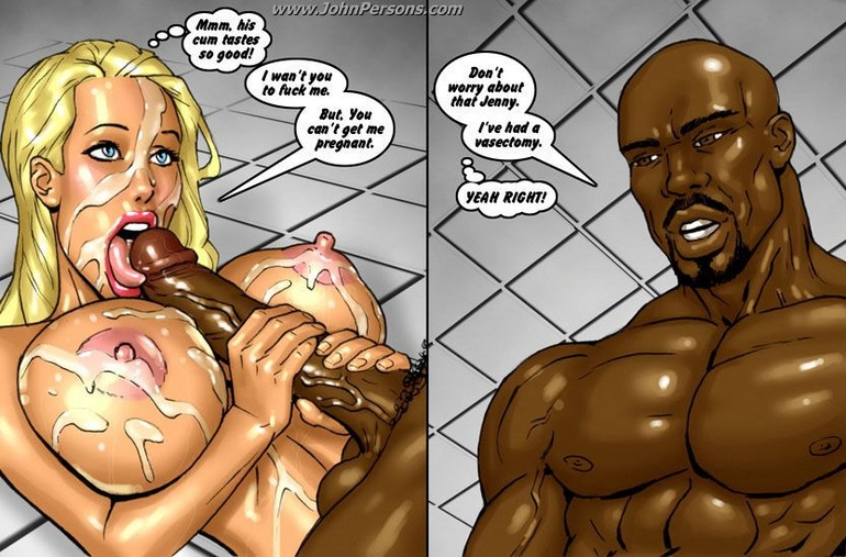 Naked toon blonde sucking black dick in the shower - Picture 2