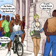 Slutty white cartoon teacher in miniskirt teasing - Picture 1