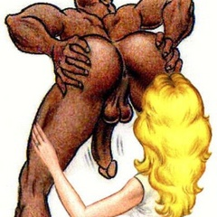 Blonde cartoon beauty sticks heer tongue in a black - Picture 1