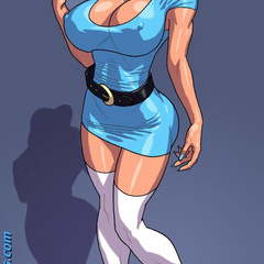 Lusty blonde toon babe in blue dress tasting her - Picture 1