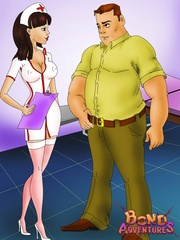Sexy shaped toon brunette nurse in sexy - BDSM Art Collection - Pic 1