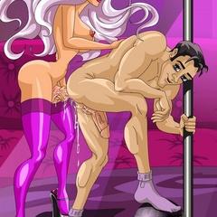 Purple stockings dressed busty ladyboy slowly - Picture 3