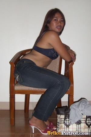 Taking bra off her Asian xxx flesh and taking phallus with hands! - XXXonXXX - Pic 5