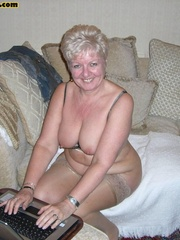 Sex starving granny in fishnet stockings - XXX Dessert - Picture 2