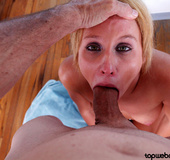 Blonde lusty wife gets her face cum covered after&hellip;