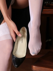 Modest secretary in white stockings tkea - XXX Dessert - Picture 5