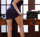 Modest secretary in glasses takes her dress off for you