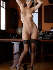 Hot brunette in black stockings gets naked - XXX Dessert - Picture 3