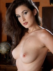 Hot brunette in black stockings gets naked - XXX Dessert - Picture 4
