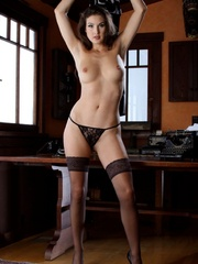 Hot brunette in black stockings gets naked - XXX Dessert - Picture 10
