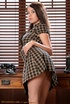 Long-haired bitch in short dress shows off her…