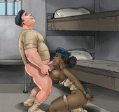 Big dick cartoon guy humiliates his enslaved cuties before baging their