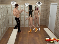 Captured in the locker room 3d guy get humilited and - Picture 2