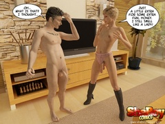 Short hair blonde 3d ladyboy stripping off her outfit - Picture 4