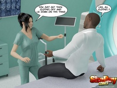 Dark haired cartoon shemale nurse stripteasing in - Picture 3