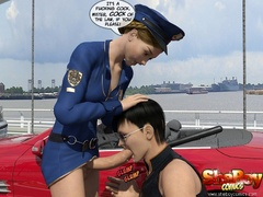 Shemale 3d police officer forced handsome guy to blow - Picture 6