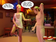 Blonde cartoon shemale taking off her white dress and - Picture 4