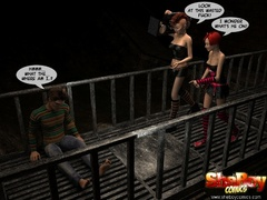 Two 3d alt ladyboys captured lucky starnger and - Picture 1