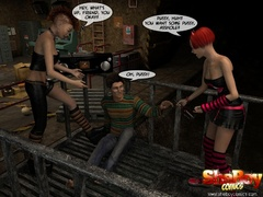 Two 3d alt ladyboys captured lucky starnger and - Picture 2