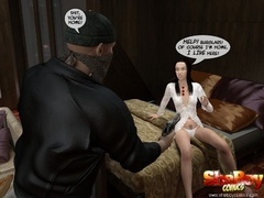 Dark haired 3d toon ladyboy in white lingerie forced - Picture 1