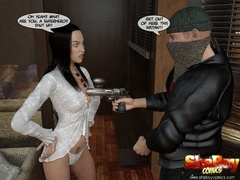 Dark haired 3d toon ladyboy in white lingerie forced - Picture 2