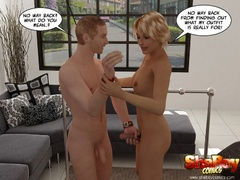 Blonde cartoon ladyboy taking off her peignoir and - Picture 5
