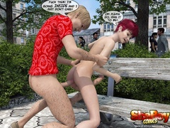 Redhead 3d transsexual in short dress lets her bf - Picture 5