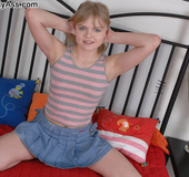 Blonde teen chick in jeans miniskirt rimming her…