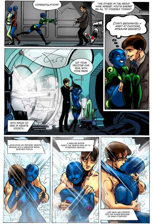 Muscular man rewards a blue alien girl with a steamy ...