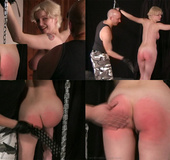 Bald master spanking and flogging blonde babe's…