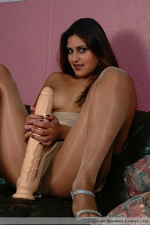 Brunette indian babe slowy pulls down her pantyhose and fucking her mouth and pussy with huge dildo. - XXXonXXX - Pic 6