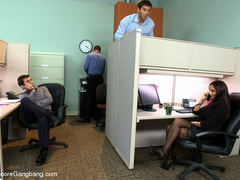 Tape bondaged busty secretary suffering - XXX Dessert - Picture 1