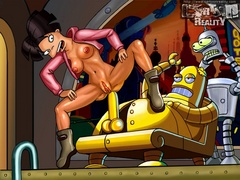 Horny Bender drilling Leela's snatch with his - Popular Cartoon Porn - Picture 1
