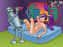 Horny Bender drilling Leela's snatch with his - Popular Cartoon Porn - Picture 2