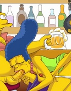 Marge takes on two big cocks one in mouth and one…