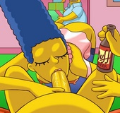 Horny Homer Simpson gets his cock swallowed deep throat