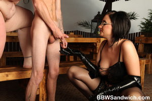 Two fat mistresses in latex enslaves a g - XXX Dessert - Picture 15