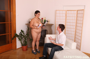 Cute fatty gets horny when sitting on gu - XXX Dessert - Picture 2