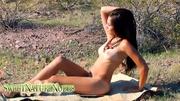 brunette girl naked field