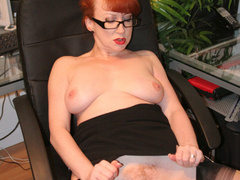 Red secretary in glasses and sexy lingerie - XXX Dessert - Picture 4