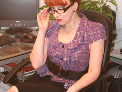 Red secretary in glasses and sexy lingerie - XXX Dessert - Picture 11