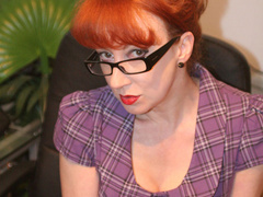 Red secretary in glasses and sexy lingerie - XXX Dessert - Picture 12