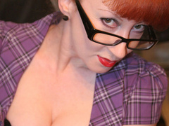 Red secretary in glasses and sexy lingerie - XXX Dessert - Picture 15